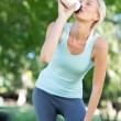 Pretty blonde drinking up water — Stock Photo #69014525