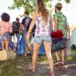 Young friends arriving at their campsite — Stock Photo #69015241