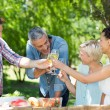 Happy friends toasting at the park — Stock Photo #69015889