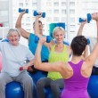 People working out with dumbbells at fitness class — Stock Photo #69015989