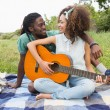 Couple on picnic playing guitar — Stock Photo #69016769