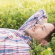 Handsome man relaxing in field — Stock Photo #69017261