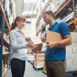 Delivery man passing parcel to warehouse manager — Stock Photo #69019903