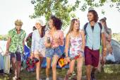 Young friends arriving at their campsite — Stock Photo