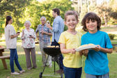Extended family having a barbecue — Stock Photo