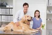 Vet examining dog with its owner — Stockfoto