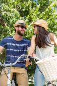 Hipster couple on bike ride — Stock Photo