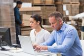Warehouse managers working with laptop — Stock Photo