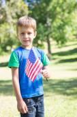 Malý chlapec mává americká vlajka — Stock fotografie