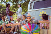 Happy hipsters having fun on campsite — Stock Photo