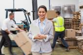 Female manager holding files — Stock Photo