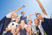 Pretty football players celebrating their win — Stock Photo
