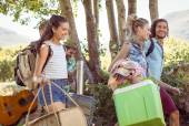 Young friends walking towards their campsite — Stock Photo