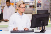 Concentrate pharmacist using computer — Stock Photo