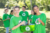 Happy environmental activists in the park — Stock Photo