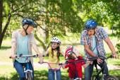 Family on their bike at the park — Stock Photo