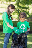 Happy siblings collecting rubbish — Stock Photo