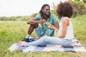 Couple on a picnic drinking wine — Stock Photo