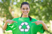 Happy environmental activist in the park — Stock Photo