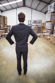 Warehouse manager standing hands on hips — Stock Photo