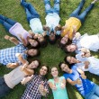 Happy friends in the park lying in circle — Stock Photo #69020365