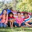 Happy little friends with american flag — Stok fotoğraf #69020883