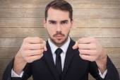 Exasperated businessman with clenched fists — Stock Photo