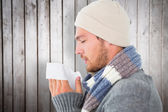 Man in winter fashion blowing his nose — Stock Photo