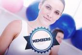 Word members and closeup portrait of woman — Stock Photo