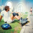 Fit man getting ready to roller blade — Stock Photo #69032987