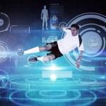 Football player in white kicking — Stock Photo #69036153