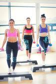 Fitness class performing step aerobics — Stock Photo