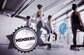Members against badge — Stock Photo