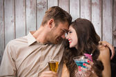 Cute couple drinking — Stock Photo