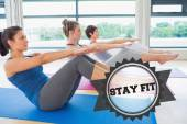Stay fit against badge — Stock Photo