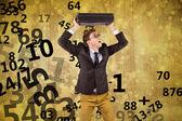 Geeky businessman holding briefcase — Stok fotoğraf
