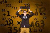 Geeky businessman holding briefcase — Zdjęcie stockowe