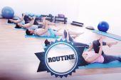 Word routine and sporty people stretching legs — Stock Photo