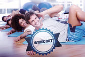 Word work out and people doing pilate exercises — Stock Photo