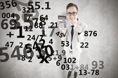 Smiling businessman showing calculator — Stok fotoğraf