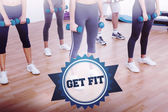 The word get fit and low section of women exercising — Stock Photo