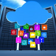 Cloud with apps against server towers — Stock Photo #69049235