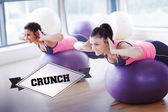 Crunch against badge — Stock Photo