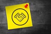 Handshake graphic against adhesive note — Fotografia Stock