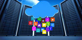 Cloud with apps against server towers — Stock Photo