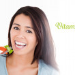 Vitamin b6 against good looking woman — Stock Photo #69052857
