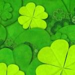 Green shamrocks on green background — Stock Photo #69057943