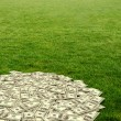 Pile of dollars against green field — Stock Photo #69058575