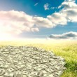 Pile of dollars against green field — Stock Photo #69059099