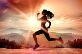 Složený obraz plné délce zdravé ženy, jogging — Stock fotografie